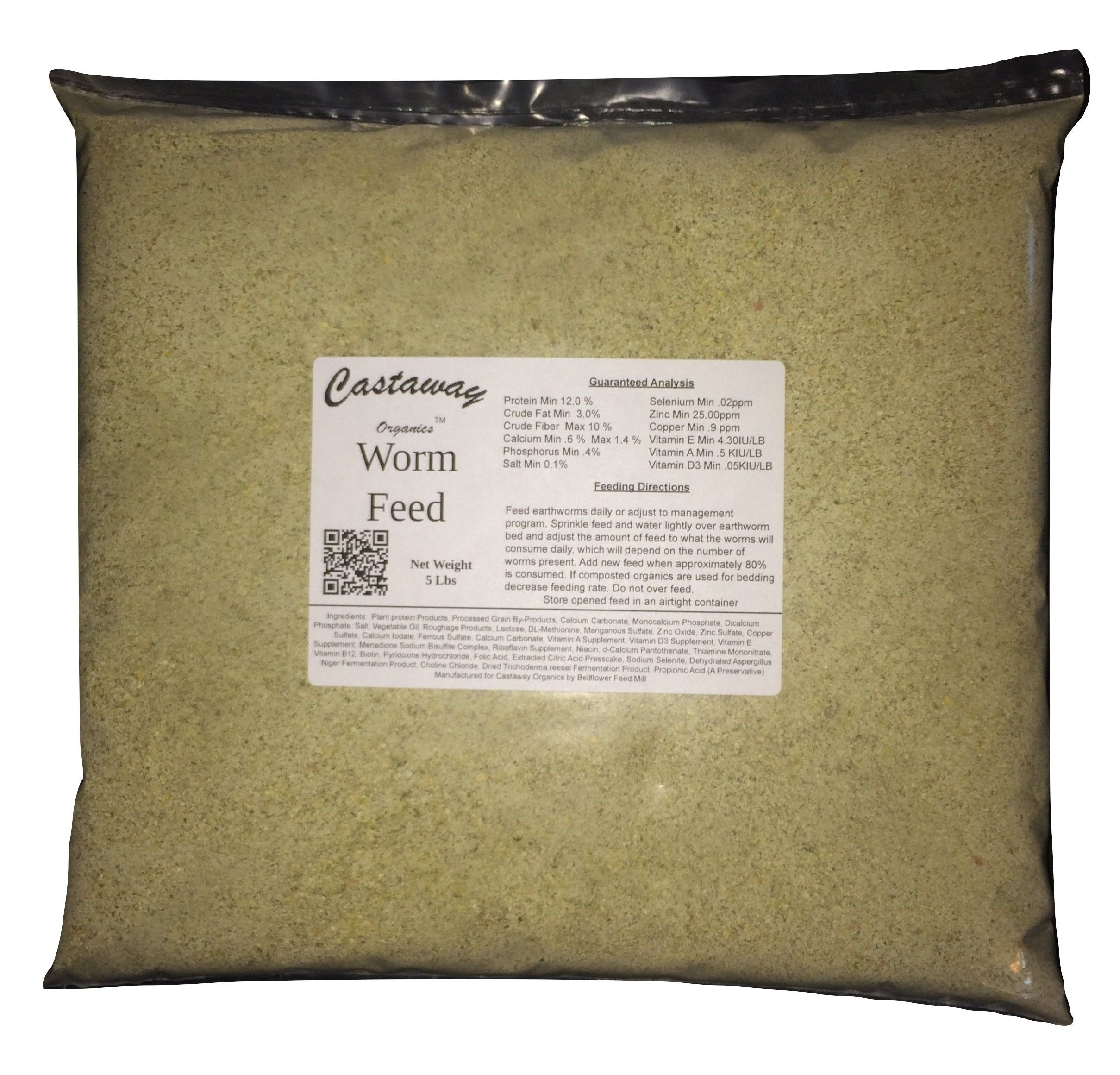 5 lbs Castaway Organics Worm Feed (Worm Chow Food for All Composting and Bait Worms)
