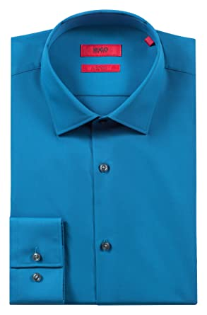 bd5904ea Image Unavailable. Image not available for. Color: Hugo Boss Men's 'C-Jenno'  Slim-Fit Poplin Cotton Mid Blue Dress