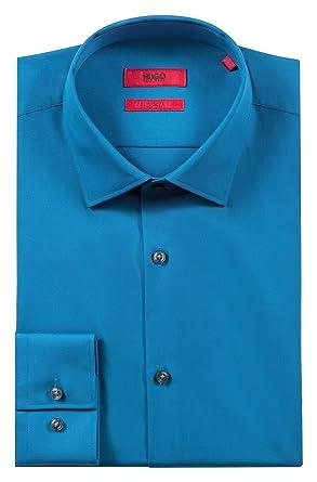 Hugo Boss Mens C-Jenno Slim-Fit Poplin Cotton Mid Blue Dress