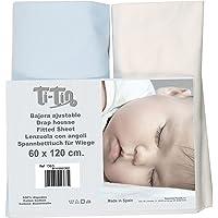 Ti TIn- 2-pack hoeslakens voor kinderbed, 100% katoen in wit en blauw, verstelbaar met elastiek, 60 x 120 cm