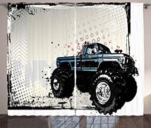 """Ambesonne Truck Curtains, Halftone Pattern Background with Color Splashed Frame and Monster Truck Motif, Living Room Bedroom Window Drapes 2 Panel Set, 108"""" X 63"""", Black Ivory"""
