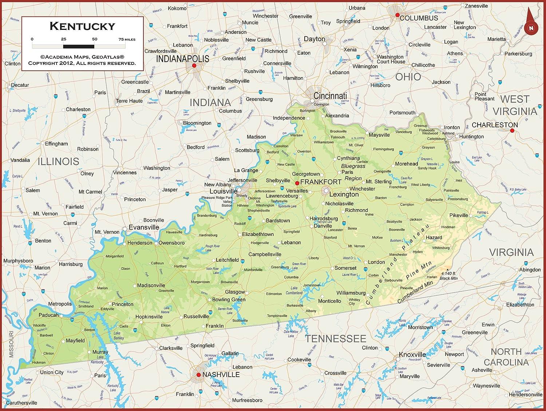 Amazon Com Academia Maps Kentucky State Wall Map Fully