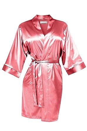 Satin Morgenmantel Kimono Robes coral Brautjungfern: Amazon.de ...