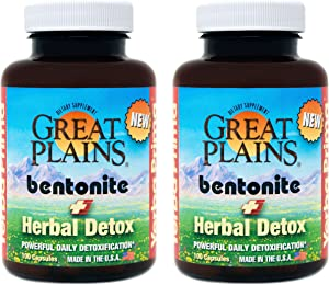 Yerba Prima Great Plains Bentonite Clay Caps Herbal Detox (Pack of 2) - Food Grade - Liver & Colon Cleanse Supplement