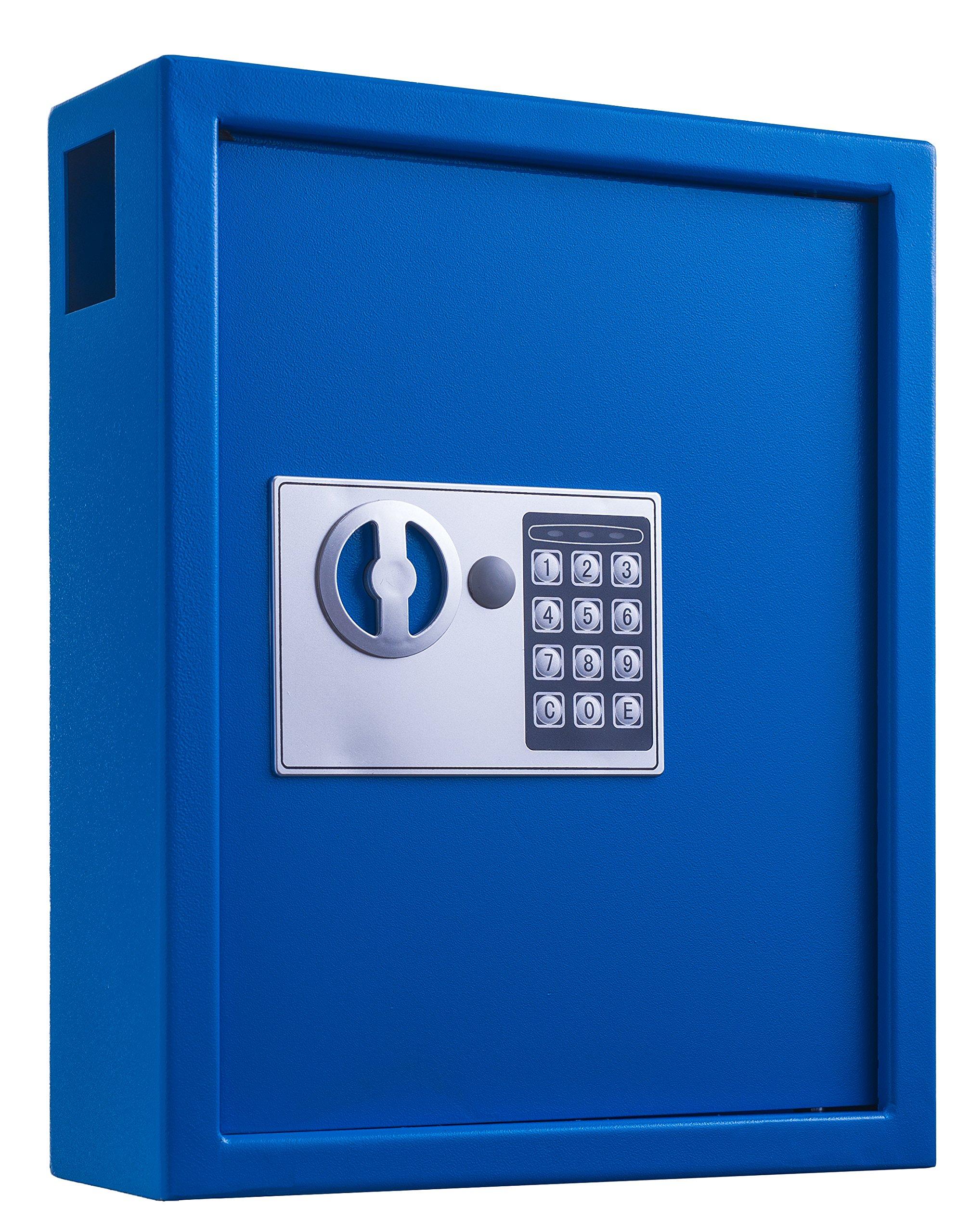 AdirOffice 40 Keys Cabinet with Digital Lock - Electronic Key Safe - Pin Code Keyless Storage Box for Keys - Secure Steel Lockbox - Scratch Resistant Powder Coated - Wall Anchor (Blue) by AdirOffice