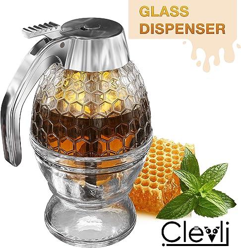 Honisworld Clevli Bottom Flow Honey Dispenser No Drip Glass 8oz