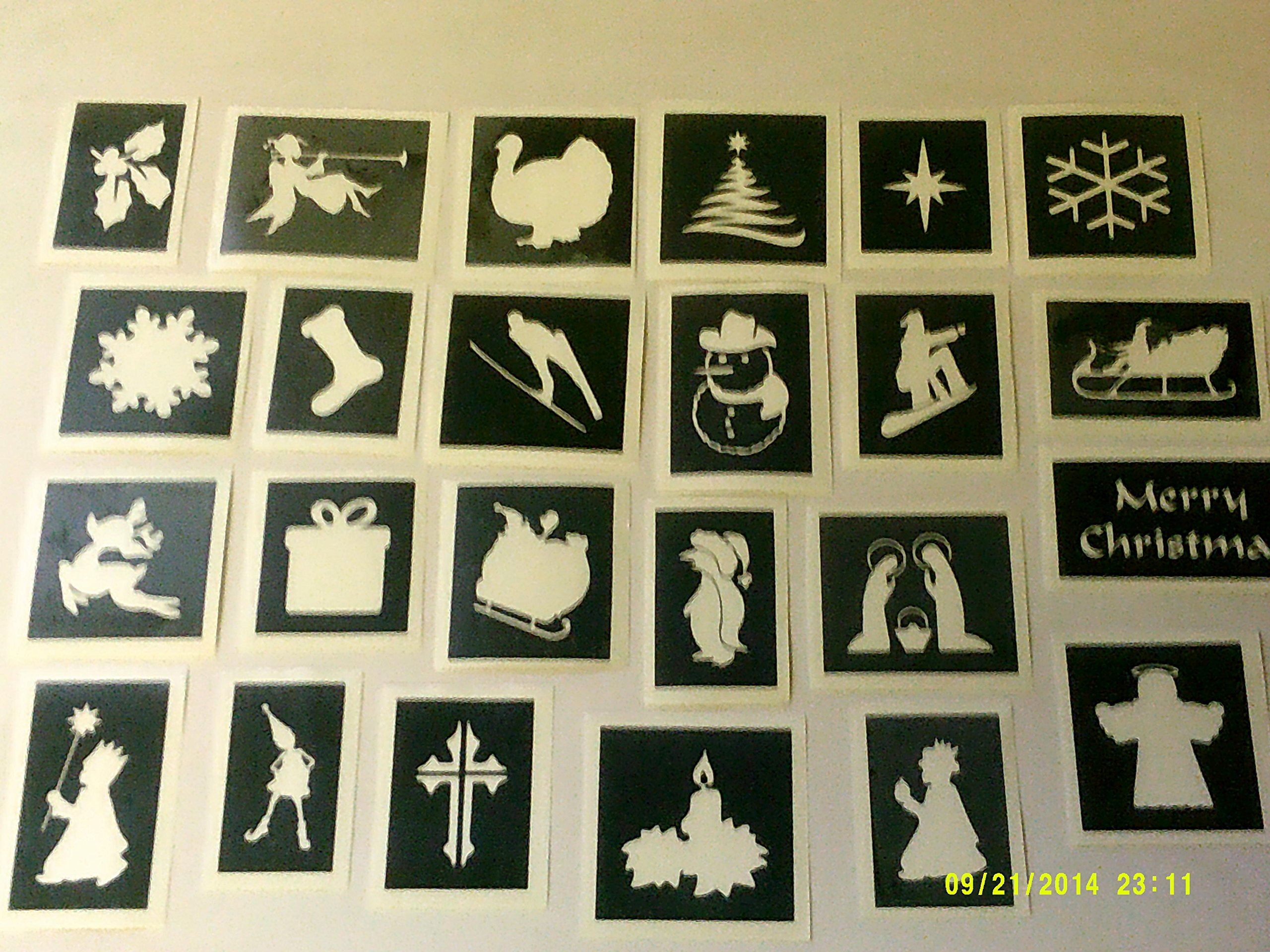 30 x Christmas themed stencils (mixed) for etching on glass craft hobby glassware present gift