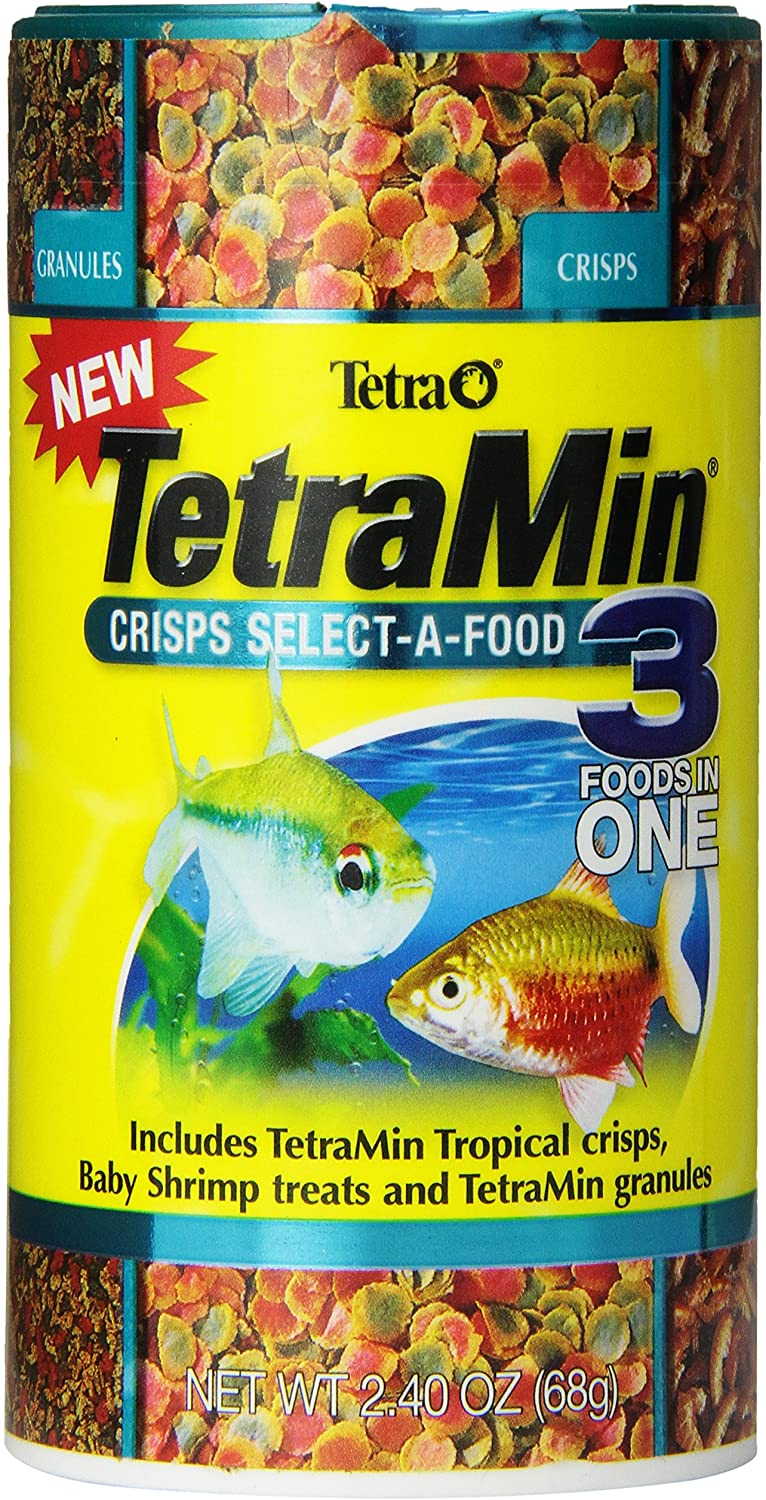 TetraMin Crisps Select-A-Food 2.4 Ounces, Fish Food, Variety Pack (77037)