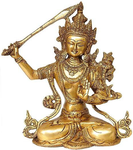 Exotic India (Tibetan Buddhist Deity) Manjushri - Bodhisattva of Transcendent Wisdom - Brass Statue Home Décor Accents at amazon
