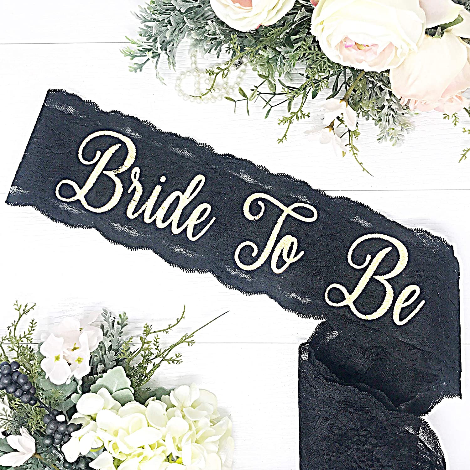 Lace Bachelorette Sash - Black Lace - Gold
