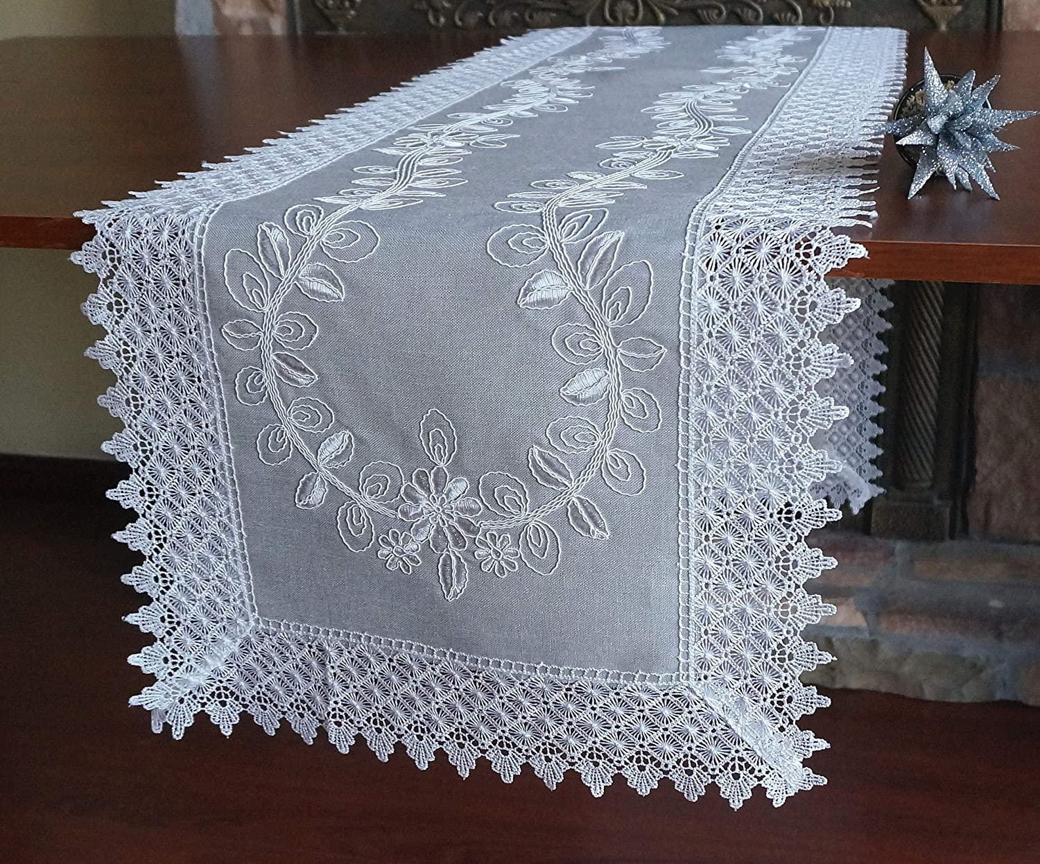 "Holiday Christmas Lace Table Runner 16""x71"" ,Embroidered Grey Fabric with White Thread Dresser Scarf Table Covers For Wedding Holiday Xmas Family Party Table Decoration (Runner 16""x71"", Grey&White)"
