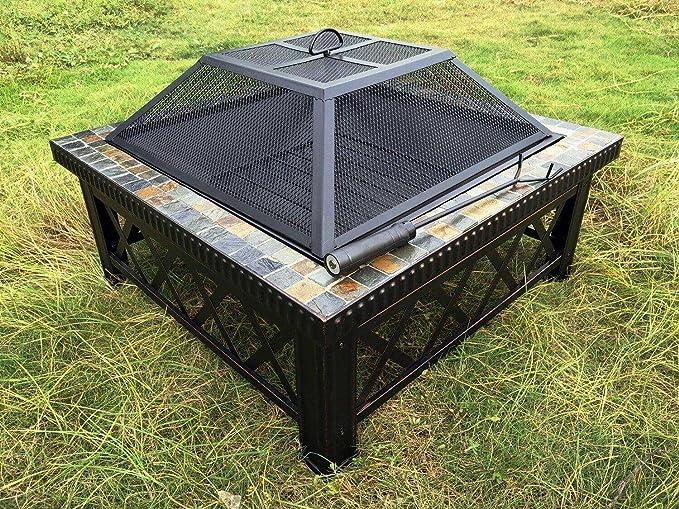 Outour® - Brasero pesado de 76, 2 cm cuadrados para exteriores ...