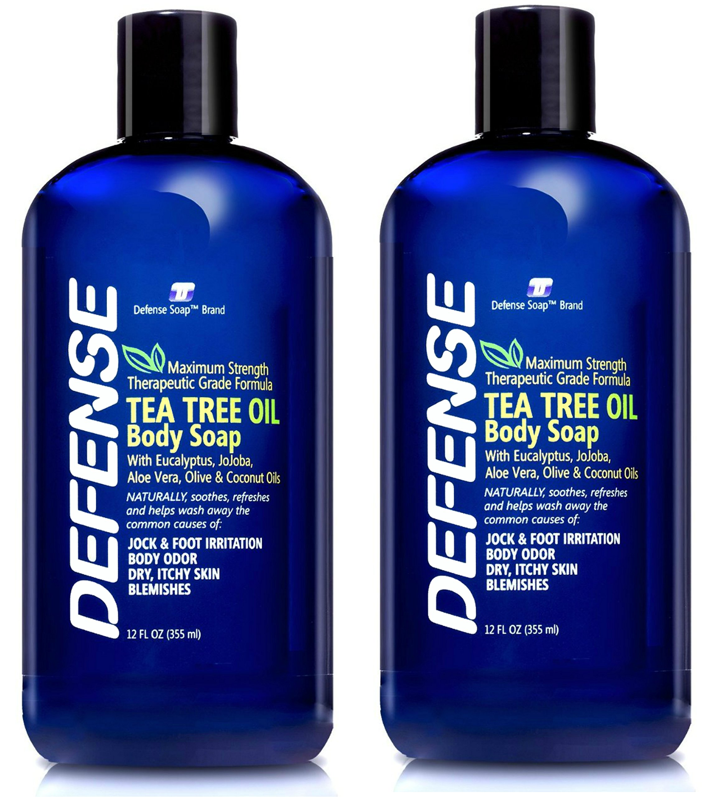 Defense Soap Body Wash Shower Gel 12 Oz (Pack of 2) - Natural Tea Tree Oil by Defense Soap