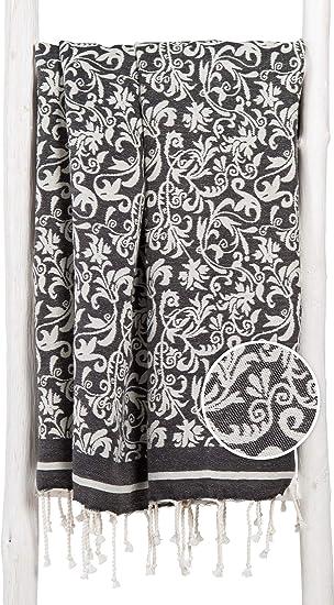 ZusenZomer Fouta Playa xxl con Flores Elegantes 100x200 Negro 100% Algodón - Toallas Hammam Diseño Exclusivo: Amazon.es: Hogar