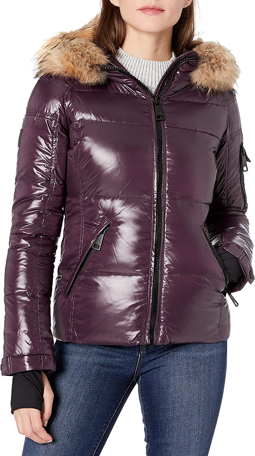 SAM. Women's Blake Shaped Down Puffer Jacket with Real Fur Hood