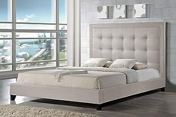 baxton studio hirst platform bed king light beige