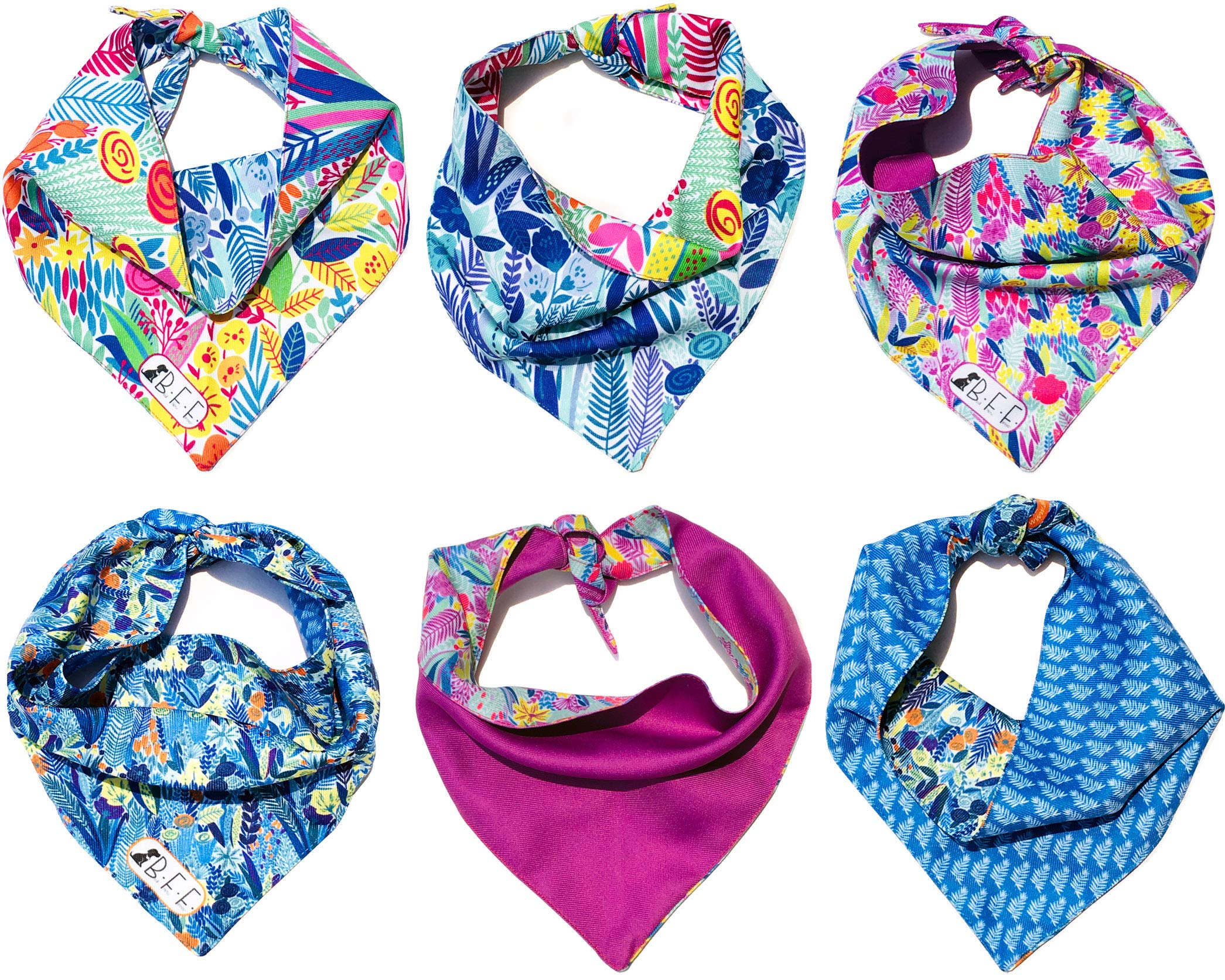 B&F 3 Pack Reversible Dog Bandana 3 Pieces - 6 Looks, Machine Washable Handmade pet Accessories. Scarves for Small, Medium,and Large Dogs. Mod. Botanical by B&F