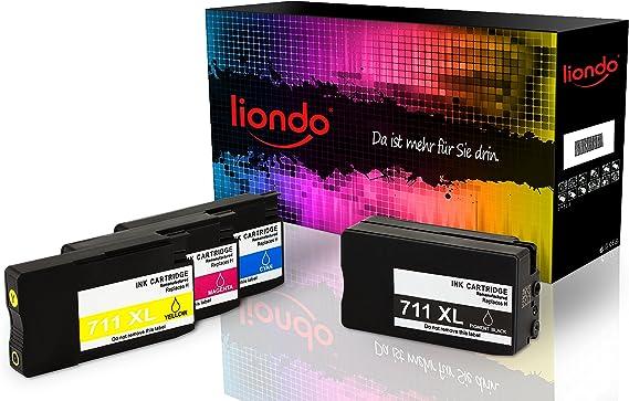 4 liondo Cartuchos de impresora compatible con HP Designjet T120 T520 ePrinter – Ink Cartridge – HP 711 X L cz129 a CZ130 A CZ131 A CZ132 A: Amazon.es: Oficina y papelería