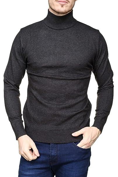 Yves Enzo - Pull habillé Maurice Col Montant Anthracite  Amazon.fr  Vêtements  et accessoires 039b7310792f