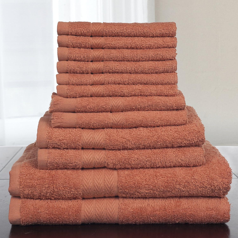 Bedford Home 12-Piece 100-Percent Cotton Towel Set, Brick