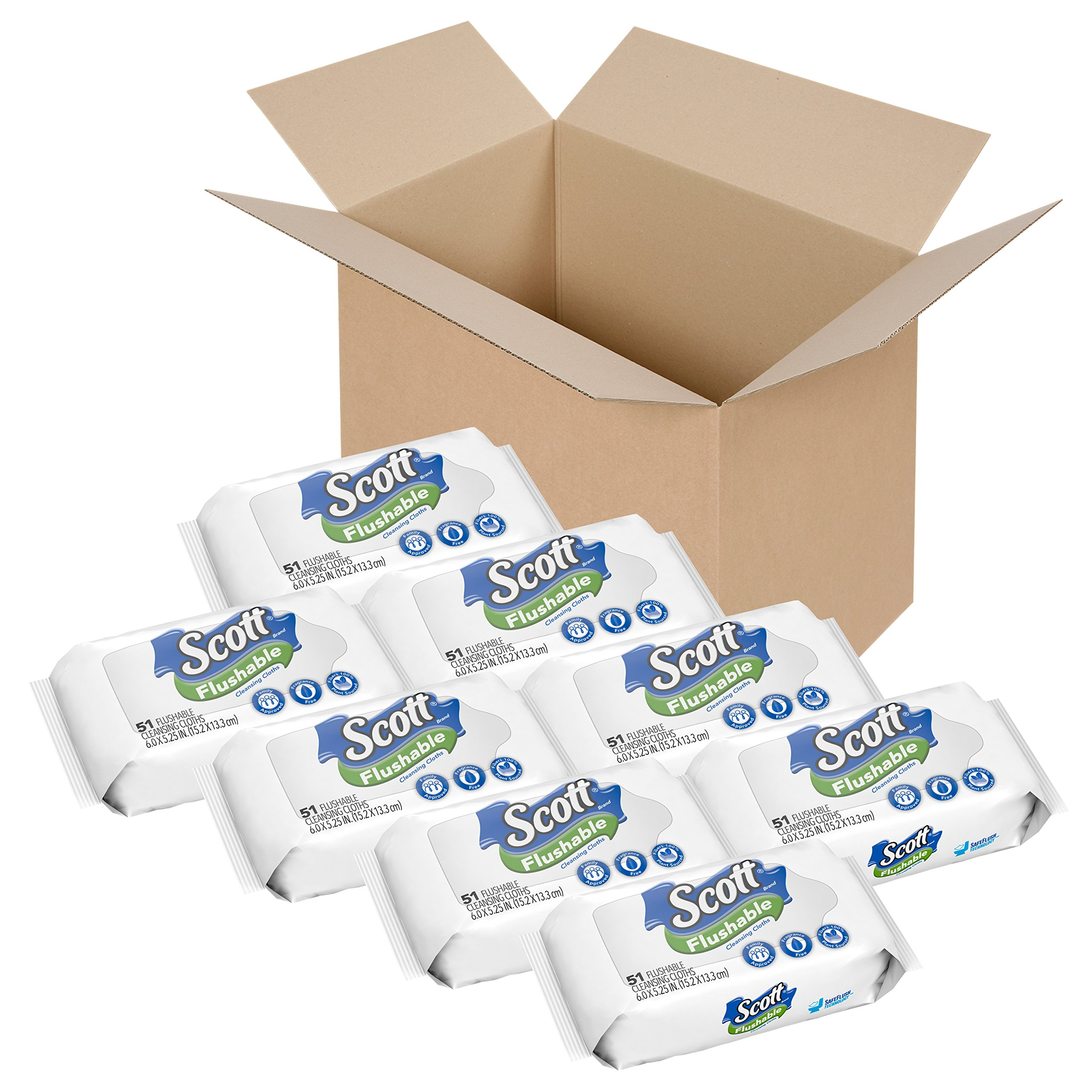 Scott Flushable Wipes, No Added Fragrance, 8 Soft Packs with 408 Wet Wipes Total (Pack May Vary) by Scott (Image #1)