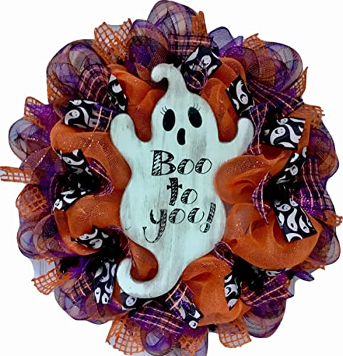 Boo Decor Halloween Deco Mesh Ghost Wreath