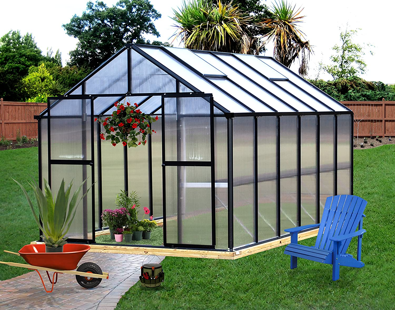 amazon com monticello mont 12 bk greenhouse 8 u0027 x 12 u0027 black