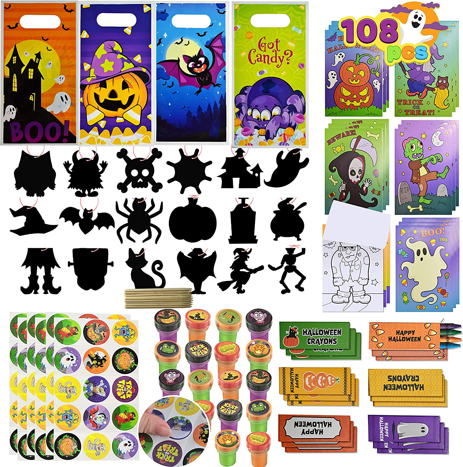 JOYIN 108 Pieces 18 Pack Assorted Halloween Art and Craft Stationery Gift Sets Trick or Treat Party Favor Toy Including Halloween Bag, Scratch Cards, Coloring Books, Stickers, Stamps, Crayons
