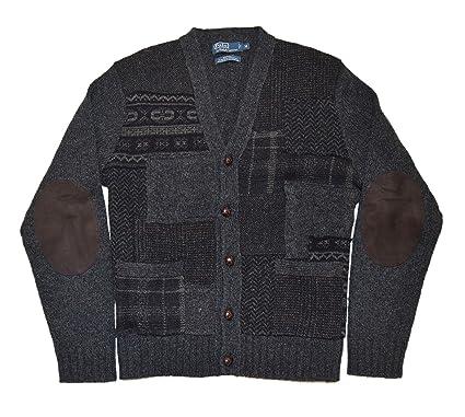 Polo Ralph Lauren Mens Patchwork Wool Suede Cardigan Sweater Black ...