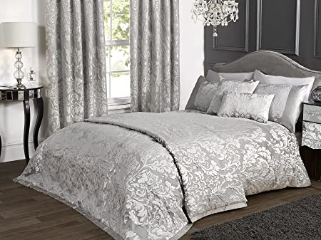 Marston Damask King Bed Size Duvet Cover Embossed Floral Silver Grey