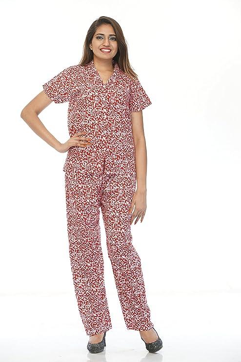 Amazon.com: Creativegifts Cotton Night Wear Pajama Set Short Sleeve ...