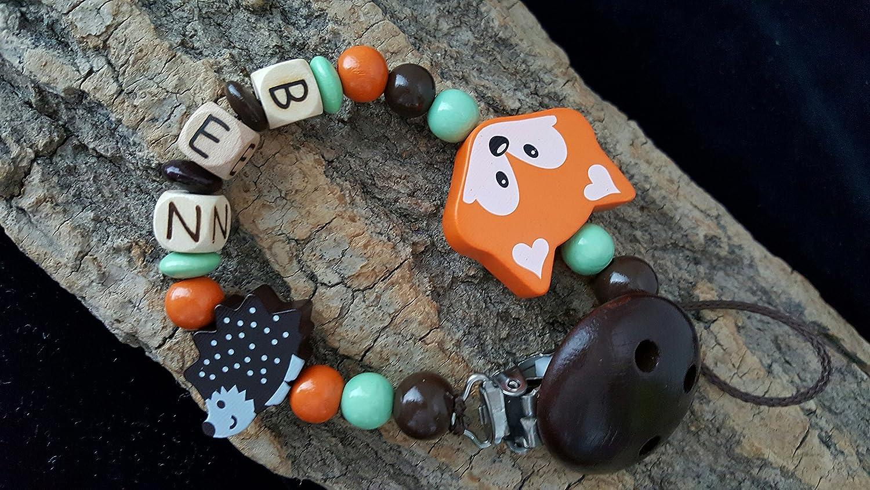 Schnullerkette mit Namen Fuchs Igel Baby Schnullerhalter Junge Holz handmade