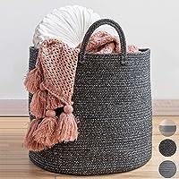 "XXL Premium Cotton Rope Basket 18""x18""x16"" - Big Basket for Blankets Living Room Black BB8"