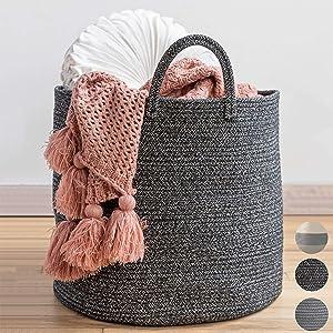"""XXL Premium Woven Basket 18""""x18""""x16"""" - Blanket Holder for Living Room - Large Baskets for Blankets-Black Basket- Decorative Rope Basket"""