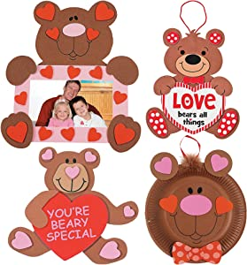 Valentine's Day Bears Craft Kit | Picture Frame, Love Sign, Paper Plate Kit & Beary Kit | Kids DIY Classroom Exchange DayCare Home School Art Project Gift Decoration | 4 Fun Boys & Girls Kits.