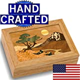 Wood Mountain Box - Handmade USA - Unmatched Quality - Unique, No Two are the Same - Original Work of Wood Art. A Mountain Tree Gift, Ring, Trinket or Wood Jewelry Box (#4102 Mountain 4x5x1.5)