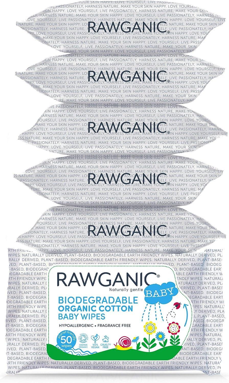 Rawganic - Toallitas de algodón orgánico biodegradable (50 ...