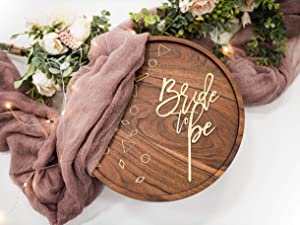 LS Designs Bride to Be Gold Acrylic Cake Topper Large 4 1/4 inches x 7 1/4 inches Cake Topper Bridal Shower Gold Decorations Bridal Cake Topper Bride to Be Topper Gold Bride to Be Food Safe
