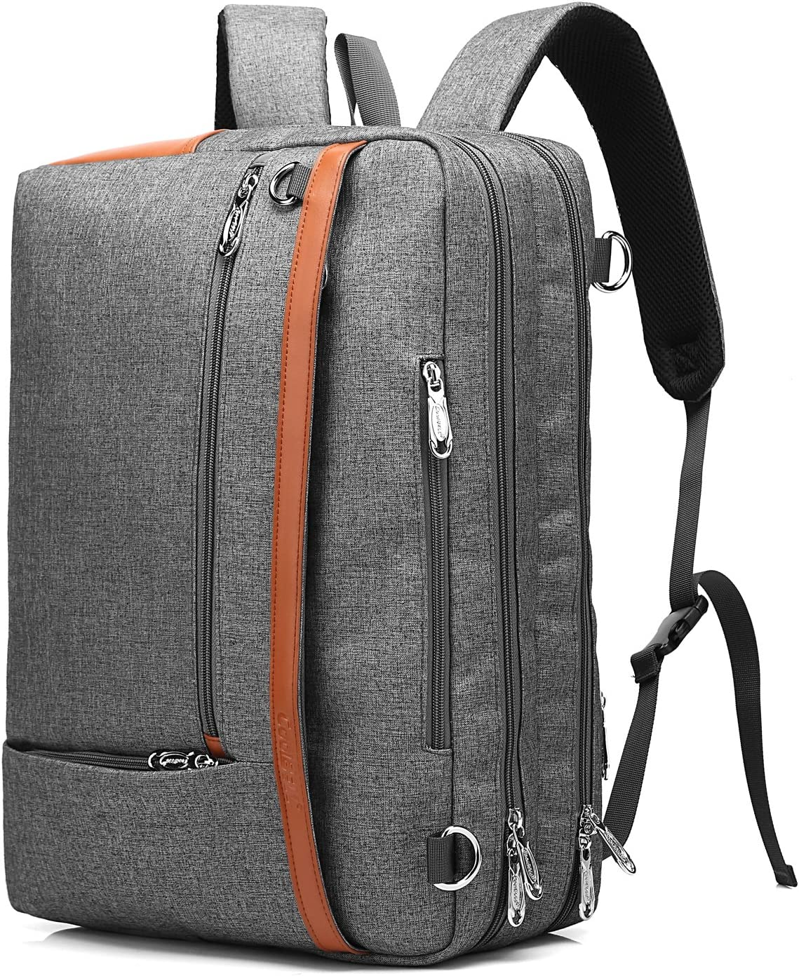 CoolBELL Convertible Backpack Shoulder bag Messenger Bag Laptop Case Business Briefcase Leisure Handbag Multi-functional Travel Rucksack Fits 15.6 Inch Laptop For Men/Women (Grey)