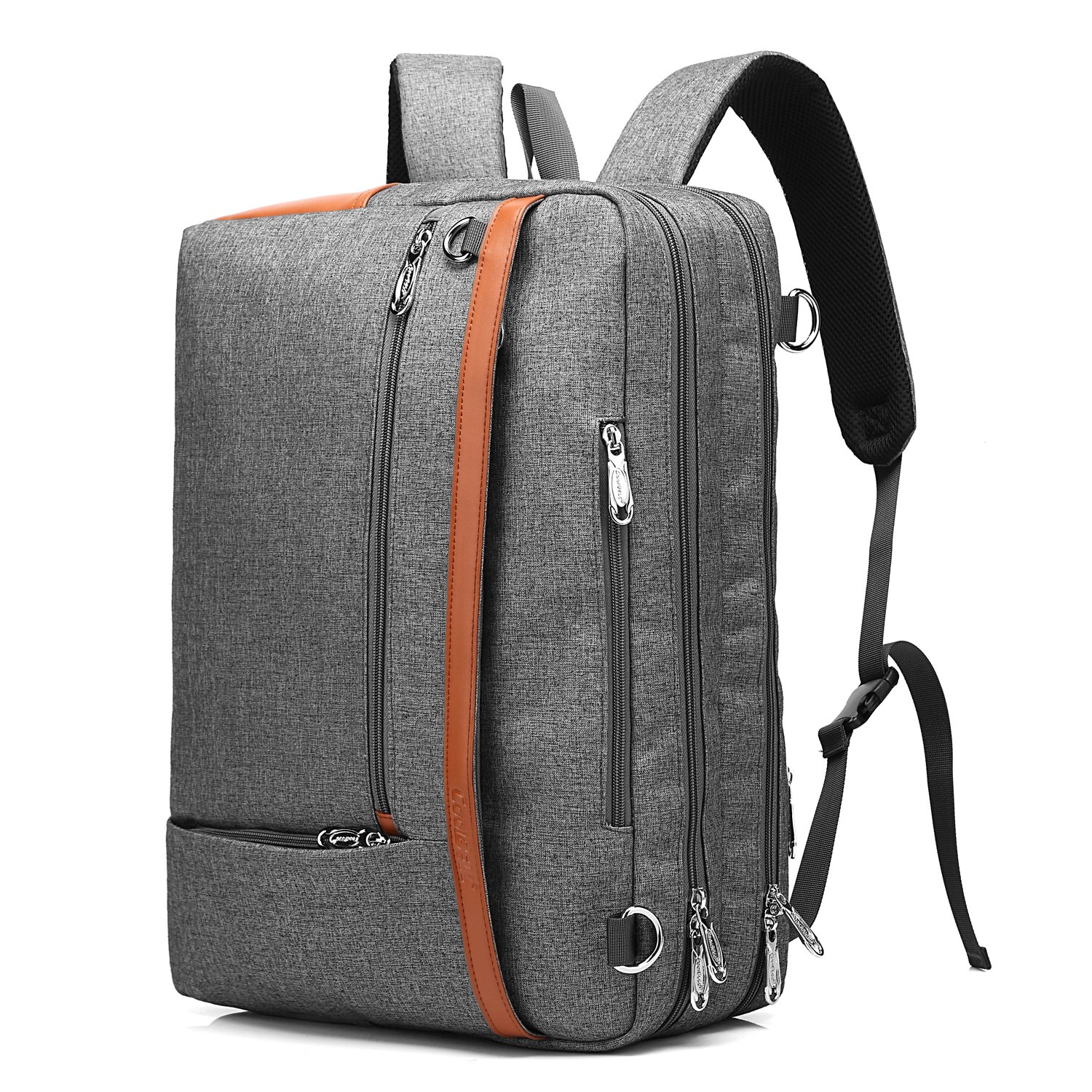 CoolBELL Convertible Backpack Shoulder bag Messenger Bag Laptop Case Business Briefcase Leisure Handbag Multi-functional Travel Rucksack Fits 17.3 Inch Laptop For Men/Women/Travel (New Grey) by CoolBELL