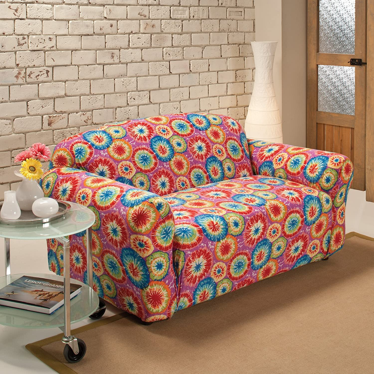 Amazon Madison Stretch Jersey Tie Dye Loveseat Slipcover