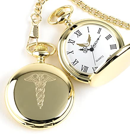 Medical Symbol Caduceus Full Hunter Pocket Watch 24 Carat Gold