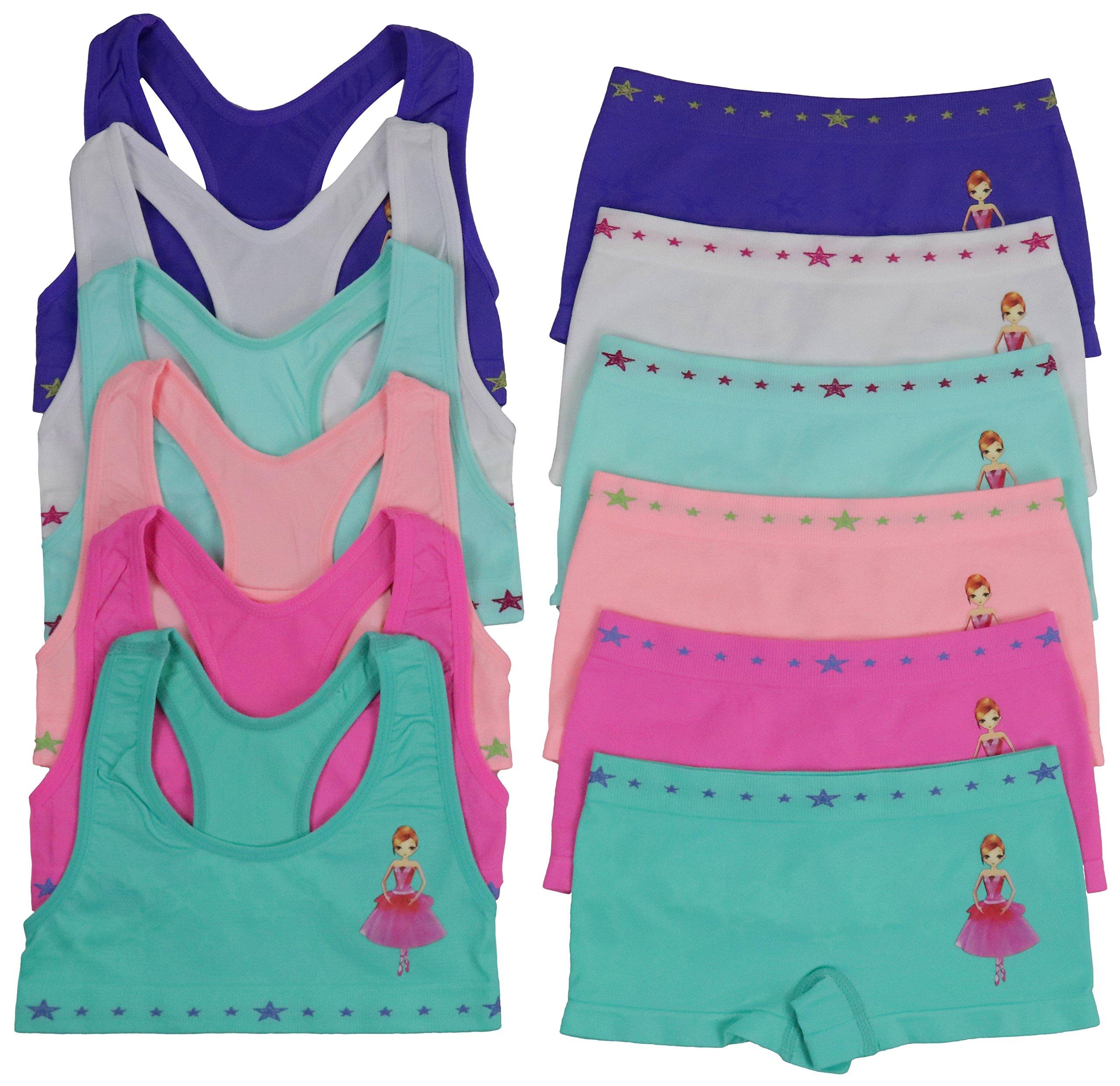 ToBeInStyle Girls 6 Pack Bras & Boyshorts Set - Star Princess - Small