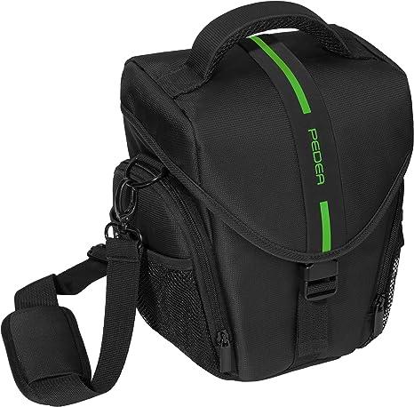 PEDEA Funda para cámaras réflex Essex con Cubierta para la Lluvia, Bolsillos para Accesorios y Correa para el Hombro/Toploader Size L, Negro/Verde: Amazon.es: Electrónica