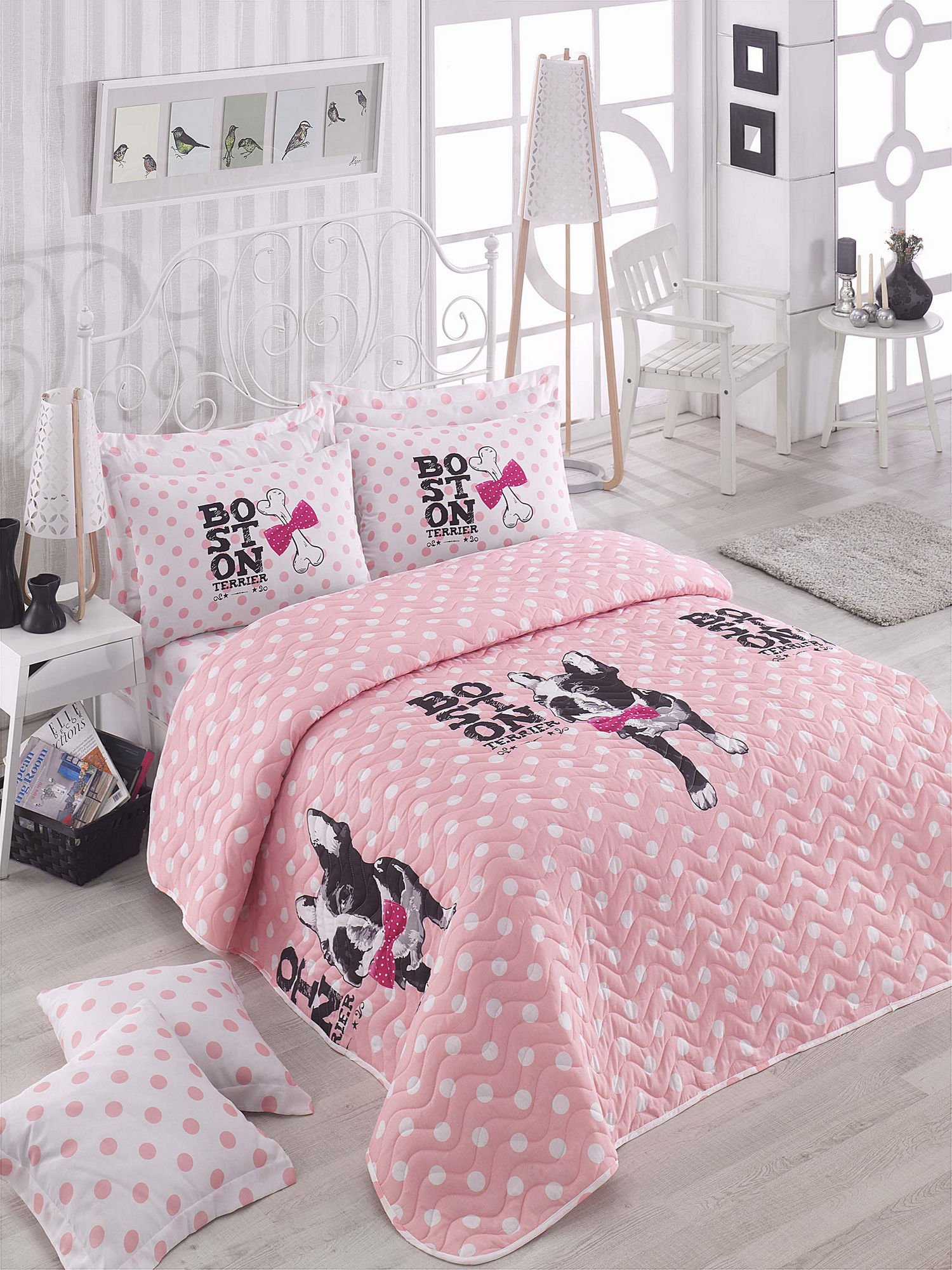 3 Pcs Soft Colored Full and Double Bed Size Bedroom Bedding 65% Cotton Double Quilted Bedspread Set 100% Fiber Filling Padded Soft Relaxed Comfortable Pattern Dog Animal Mottled Bedspread Set