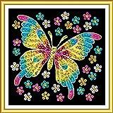 Art Sequin - KAD1325 - Peinture Au Numéro - Motif Papillon - 17 x 17 Cm - Art Sequin 60 - Coloris Aléatoire