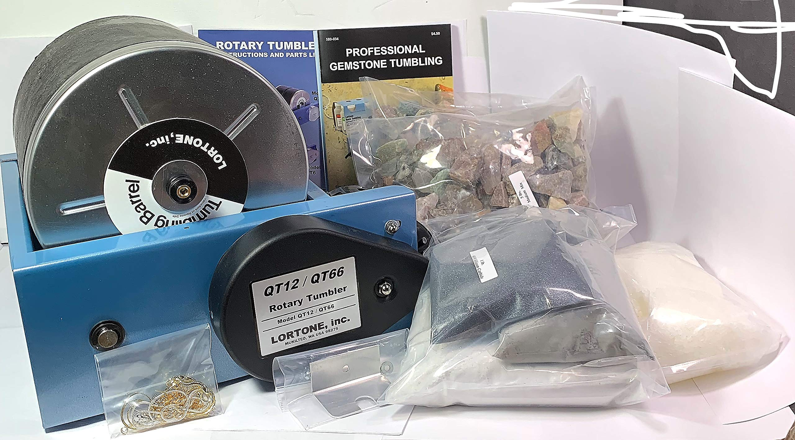Lortone QT12 Rotary Rock Tumbler with Grit & Accessories