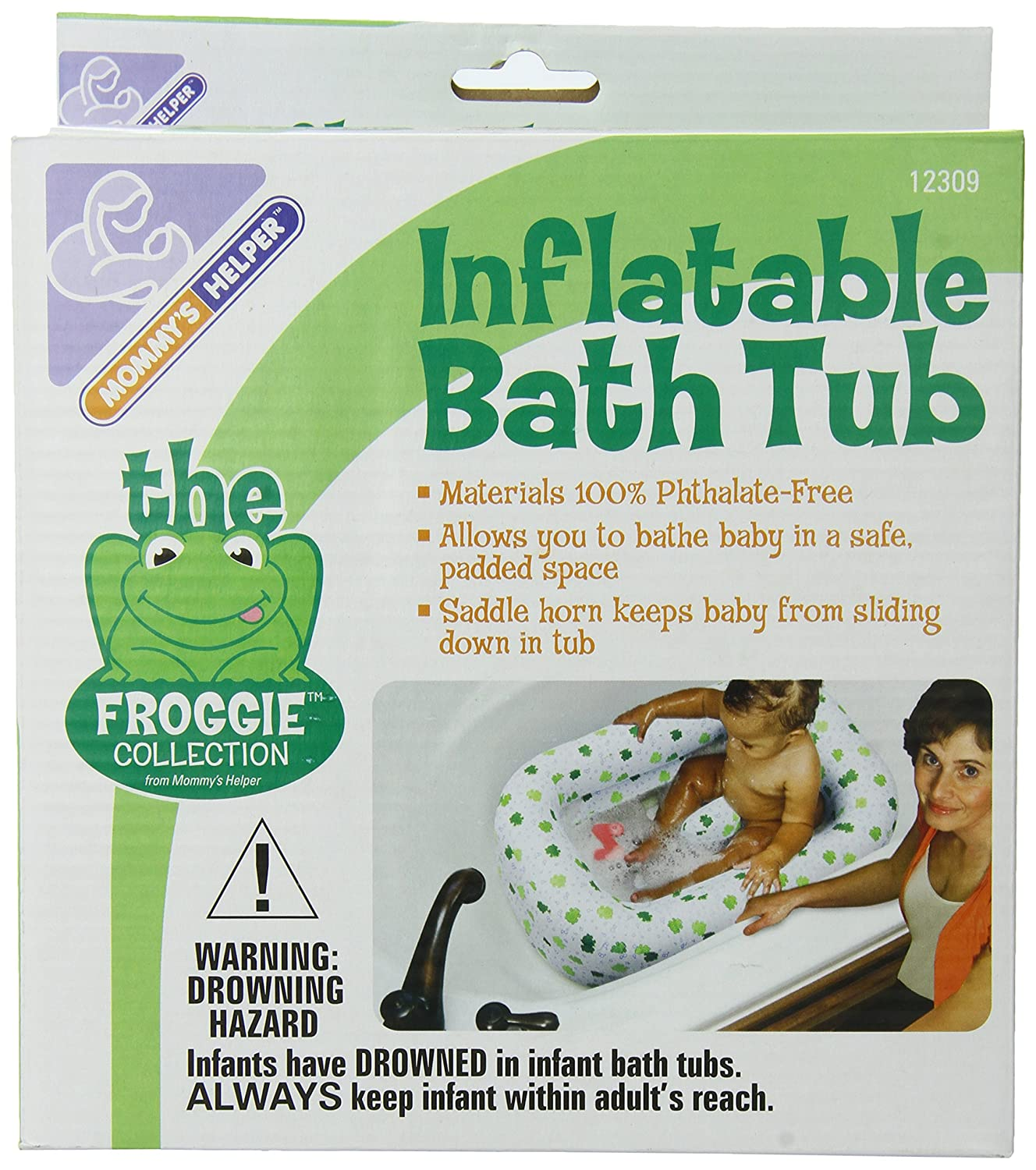 Amazon.com : Mommyu0027s Helper Inflatable Bath Tub Froggie Collection,  White/Green, 6 18 Months : Baby Bathing Seats And Tubs : Baby