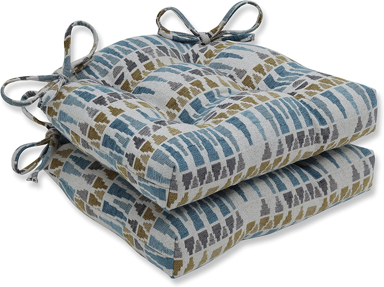 Pillow Perfect Blue Sky Gold Gray Chair Pad, Reversible, 2 Piece