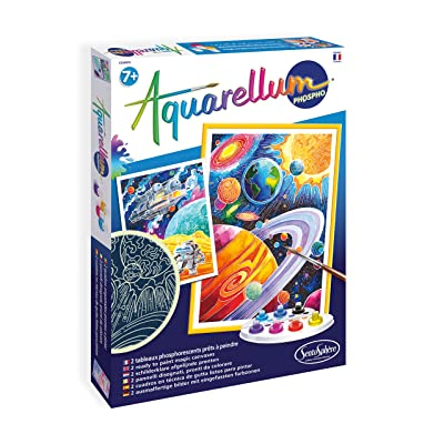 SentoSphere Aquarellum - Planets Glow in the Dark - Arts and Crafts Watercolor Paint Set: Toys & Games